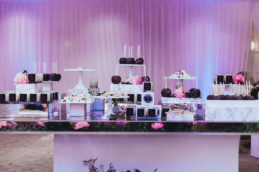 Breathtaking Contemporary Jewel Toned Fall Posh Wedding dessert favor table.jpg