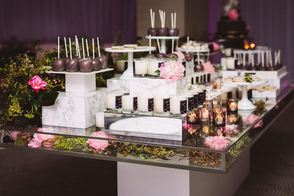 Breathtaking Contemporary Jewel Toned Fall Posh Wedding dessert table.jpg