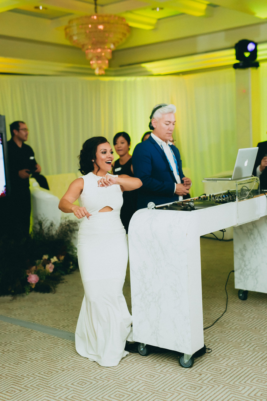 Breathtaking Contemporary Jewel Toned Fall Posh Wedding bride and dj herick.jpg