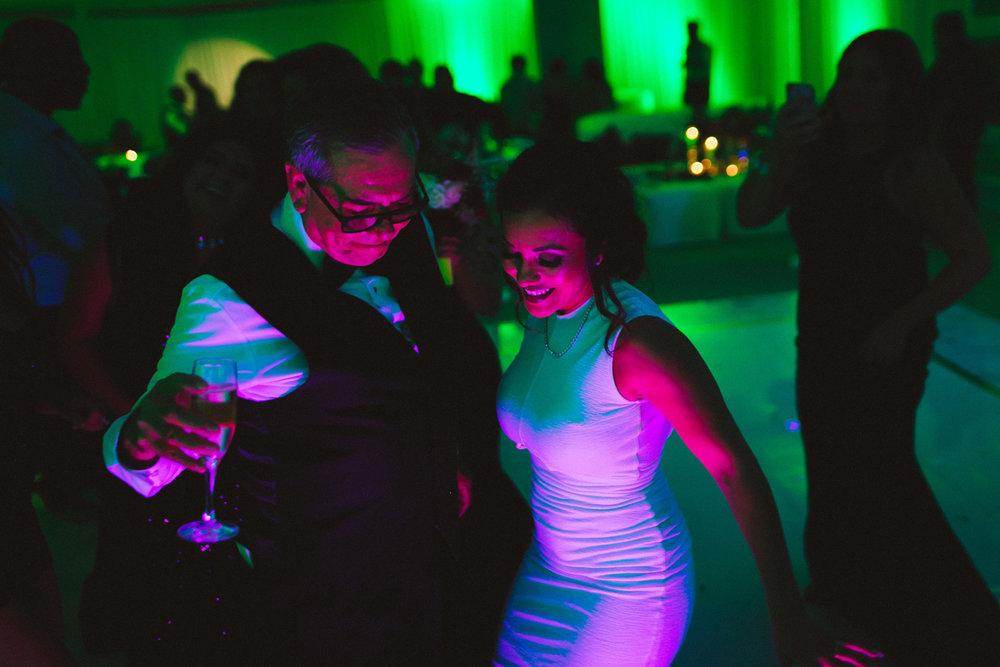 Breathtaking Contemporary Jewel Toned Fall Posh Wedding cool lighting on dance floor.jpg