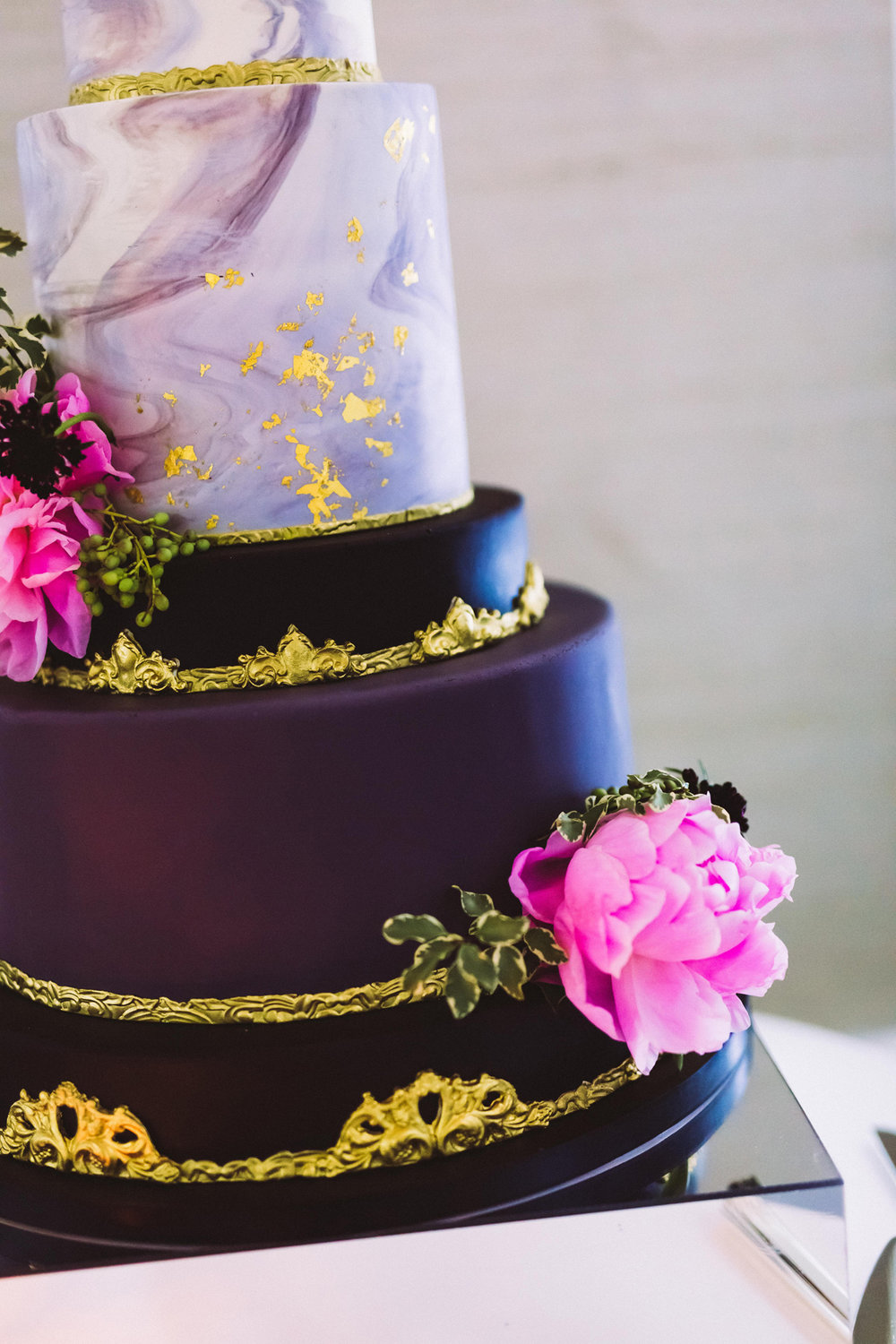 Breathtaking Contemporary Jewel Toned Fall Posh Wedding close up of cake.jpg