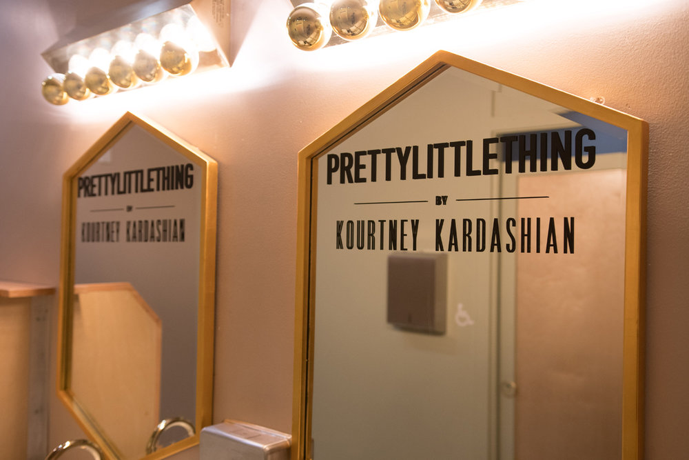 PrettyLittleThing PLT X Kourtney Kardashian Collection Celebrity Launch Party custom vinyled mirrors.jpg