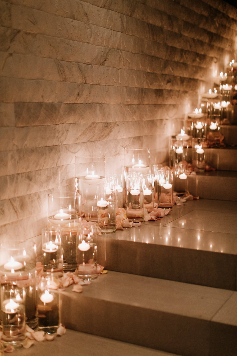 Dreamy Starry Nights Wedding candles light the stairs.jpg