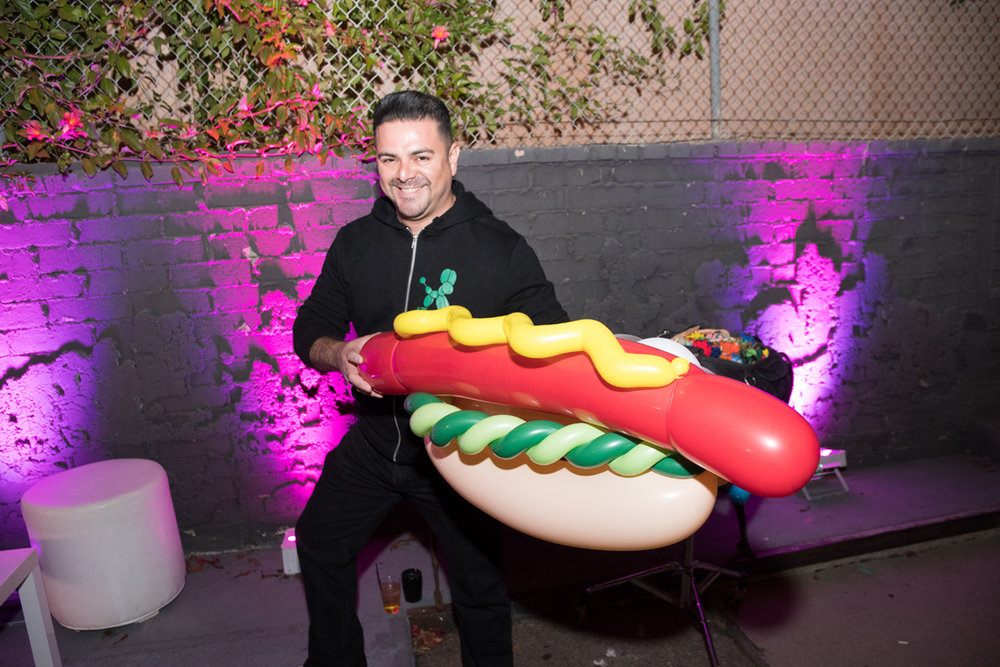Rockin Out with Dave Rocco LA Birthday Party balloon artist and giant hot dog.jpg