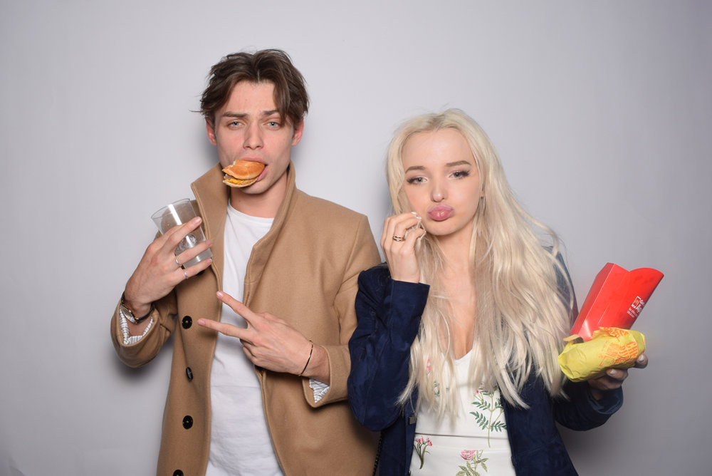 Rockin Out with Dave Rocco LA Birthday Party Dove Cameron in photo booth.jpg