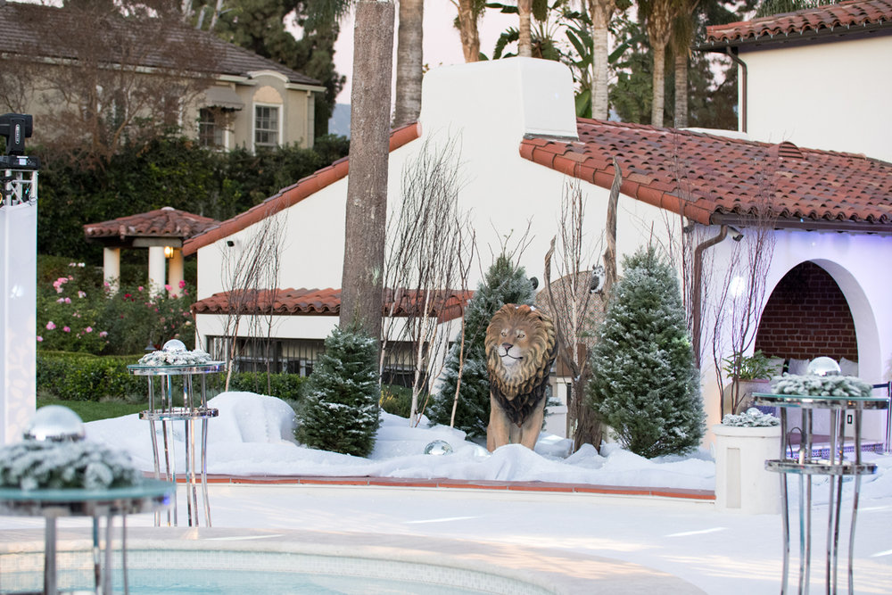 Narnia Inspired Opulent Winter Wonderland Party giant lion in the snow.jpg
