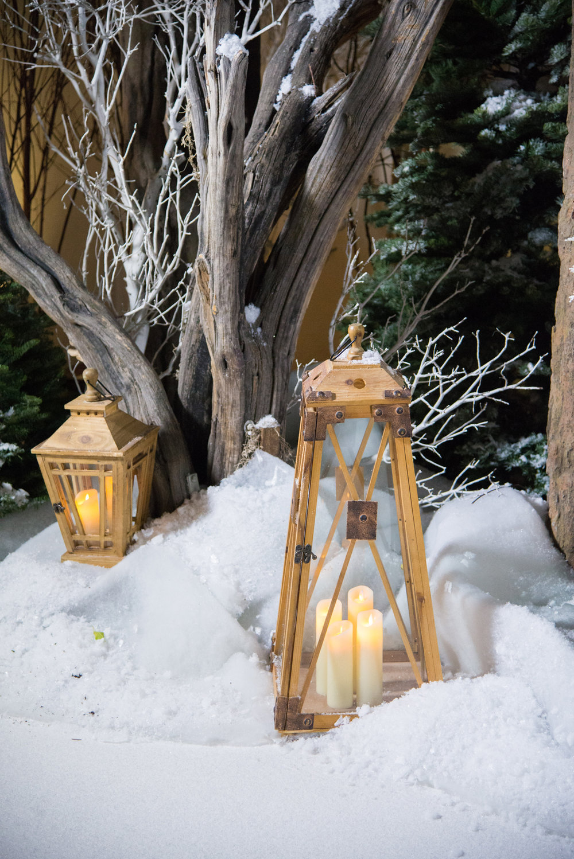 Narnia Inspired Opulent Winter Wonderland Party lanterns in snow.jpg