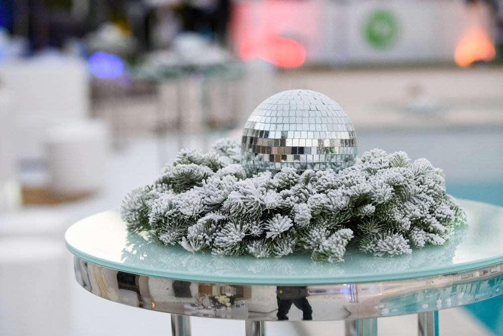 Narnia Inspired Opulent Winter Wonderland Party flocked greens and tabletop disco ball.jpg