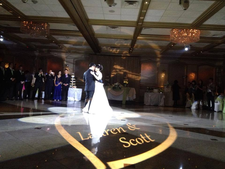 MONOGRAM PROJECTION Personalize your special day with our custom monograms and gobo projection.  We offer samples to help you choose.