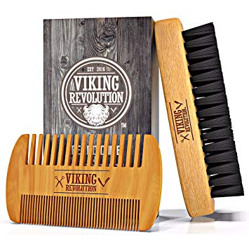 Viking Revolution Beard Comb and Brush Set