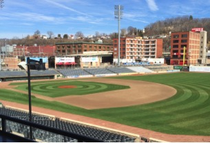West Virginia Power Field diamond & outfield; taken March 17, 2015, one week after snow blankets were removed.