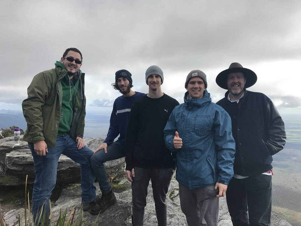 A few youth pastors/leaders on a hike up Bluff Knoll