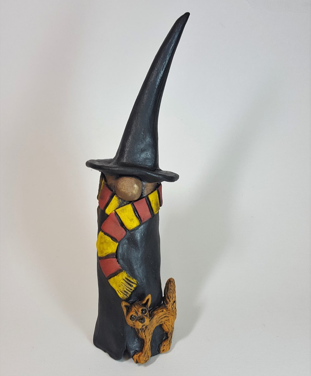 SECOND 10 Inch Tall Witch/Wizard with Long Brown Hair and Orange Cat - $50