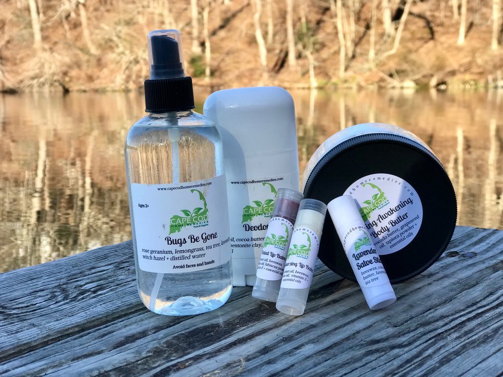 The Cape Cod Home Remedies product line includes everything from bug spray, body butter, deodorant, and lip balm.