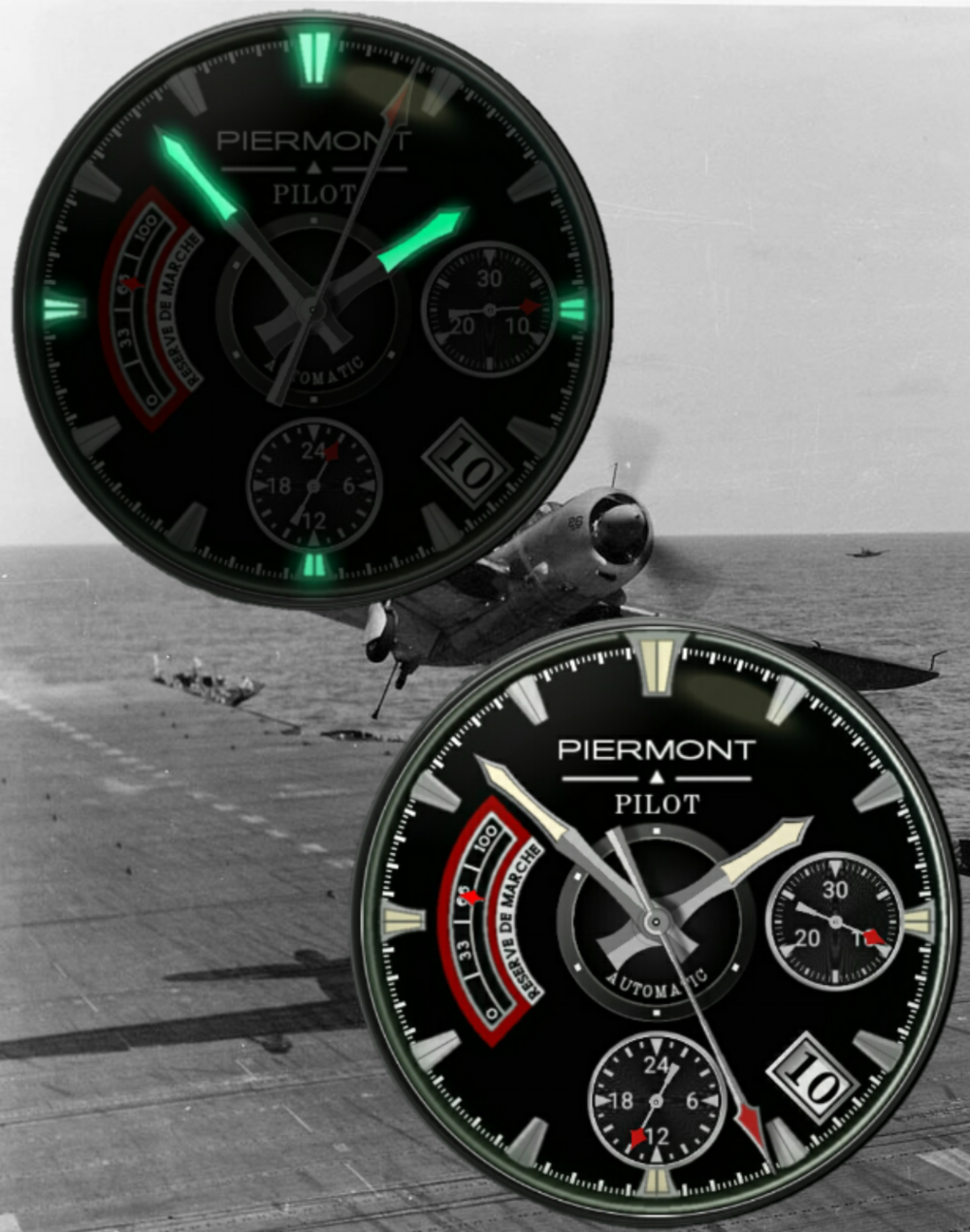 Piermont Vintage Pilot Smartwatch with Stopwatch, Date, Watch Battery Meter