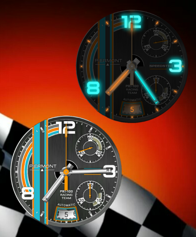 Piermont Speedster Smartwatch with Date, Stopwatch & Continuous Second upper right dial