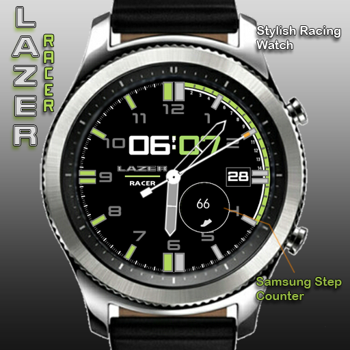 Lazer Racer ~ Green for Samsung Gear watches http://apps.samsung.com/gear/appDetail.as?appId=com.watchface.LazerRacergreen