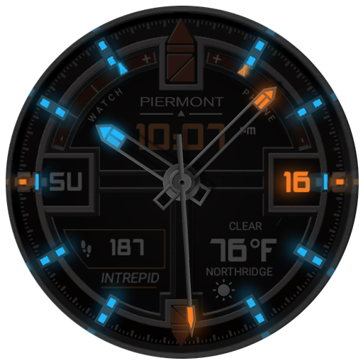 YOU NEED TO BUY WATCHMAKER PREMIUM TO USE ON YOUR WATCH.  http://goo.gl/FMxUfY  For the Active on-the go user  This watch face has a fantastic glow that is almost unparalleled for an ANDROID watch face. When set to SLOW GLOW mode, watch face will begin going into ambient mode & while lume glows brighter & brighter, watch face background gets darker & darker. Then as sunrise appears, it reverses the process and slowly returns to normal mode.   TAPPING ACTIONS:  TAP 6 O'CLOCK FOR AMBIENT MODES:  1. NORMAL - Ambient mode when inactive 2. ALWAYS ON - Always in ambient mode 3. OFF - Never ambient mode 4. DIM AFTER SUNSET - When inactive, displays ambient mode only after sunset and stays in ambient mode until sunrise 5. SLOW GLOW - After sunset, increases intensity of ambient mode until sunrise, then gradually goes back to no ambient mode.  TAP 9 O'CLOCK - To cycle through 3 levels of additional dark filters. Good for when display is too bright in a dark setting.  Displays Temperature & Current Conditions  Digital time always on  Displays Day at 9 o'clock position  Displays Date at 3 o'clock position  Displays Steps Count  Displays Watch battery level upper left  Displays Phone battery level lower upper right  Works on most android wear watches. Huawei, Moto 360, LG G Watch R, Sony Smartwatch 3, Samsung Gear Live, Asus ZenWatch.  Supports round display only.  PAID VERSION:  https://play.google.com/store/apps/details?id=johnnyd.wmwatch.PiermontIntrepid   FOR FREE VERSION - SEE OUR DEVELOPER PAGE & LOOK FOR NO DIM VERSION https://play.google.com/store/apps/dev?id=6613237011325719031