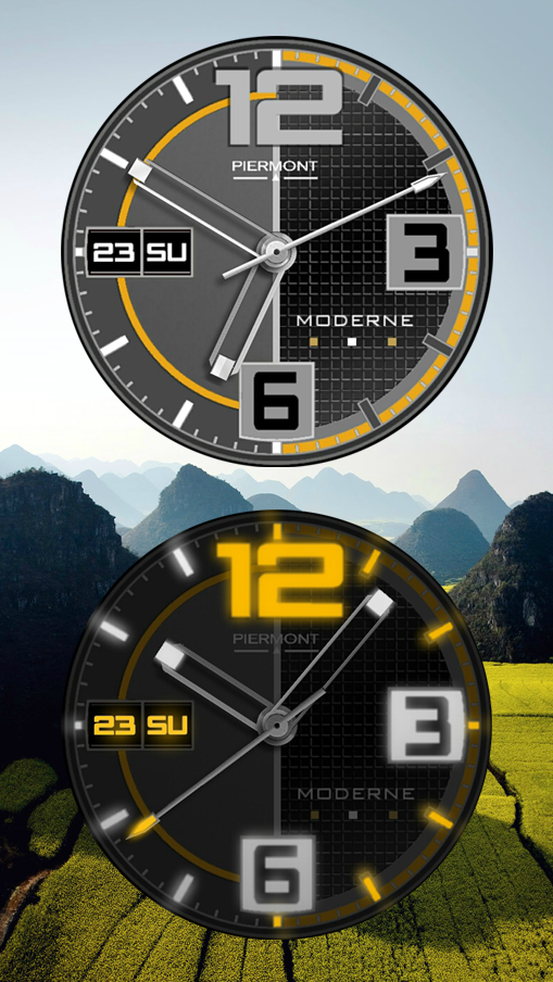 Super Clean & Modern - The lume version is almost like having a second watch. A little different than past lumes....    TAPPING ACTIONS:  TAP 6 O'CLOCK FOR AMBIENT MODES:  1. NORMAL - Ambient mode when inactive 2. ALWAYS ON - Always in ambient mode 3. OFF - Never ambient mode 4. DIM AFTER SUNSET - When inactive, displays ambient mode only after sunset and stays in ambient mode until sunrise 5. SLOW GLOW - After sunset, increases intensity of ambient mode until sunrise, then gradually goes back to no ambient mode.  TAP 9 O'CLOCK - To cycle through 3 levels of additional dark filters. Good for when display is too bright in a dark setting.  Displays Day & Date - What else do you need :-)  Get it at Google Play Store   https://play.google.com/store/apps/details?id=com.piermont.ModerneLume