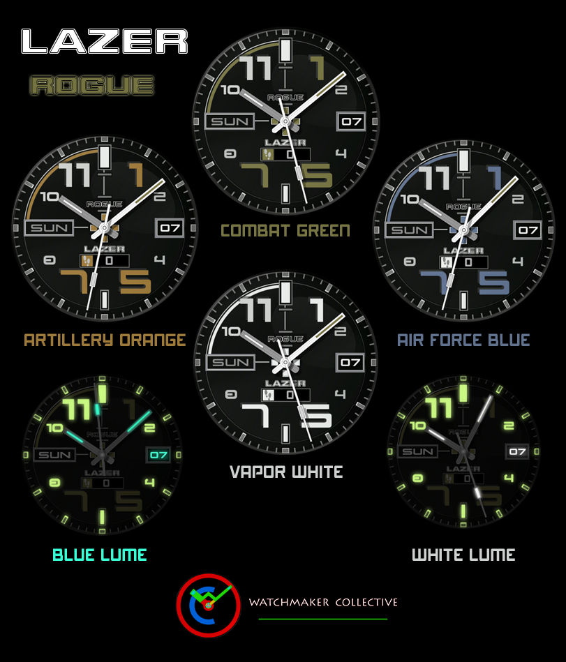 This watch face has a fantastic glow that is almost unparalleled for an ANDROID watch face. When set to SLOW GLOW mode, watch face will begin going into ambient mode & while lume glows brighter & brighter, watch face background gets darker & darker. Then as sunrise appears, it reverses the process and slowly returns to normal mode. YOU NEED TO BUY WATCHMAKER PREMIUM TO USE ON YOUR WATCH. http://goo.gl/FMxUfY TAPPING ACTIONS: TAP 6 O'CLOCK FOR AMBIENT MODES: 1. NORMAL - Ambient mode when inactive 2. ALWAYS ON - Always in ambient mode 3. OFF - Never ambient mode 4. DIM AFTER SUNSET - When inactive, displays ambient mode only after sunset and stays in ambient mode until sunrise 5. SLOW GLOW - After sunset, increases intensity of ambient mode until sunrise, then gradually goes back to no ambient mode. TAP 9 O'CLOCK - To cycle through 3 levels of additional dark filters. Good for when display is too bright in a dark setting. TAP CENTER - To cycle through 4 different face colors TAP DATE - When in AOD or Lume mode tap to cycle between 2 different hand lume colors, white & blue Displays Day at 9 o'clock position Displays Date at 3 o'clock position Displays Steps Count - *** NOTE: Some Watchmaker Premium users find step counter can be inaccurate or not work. This is not a reflection on this watch face but issues with the WM app and how it interfaces with your phone*** Works on most android wear watches. Huawei, Moto 360, LG G Watch R, Sony Smartwatch 3, Samsung Gear Live, Asus ZenWatch. Supports round display only. https://play.google.com/store/apps/details?id=com.Lazer.wmwatch.RoguePrem