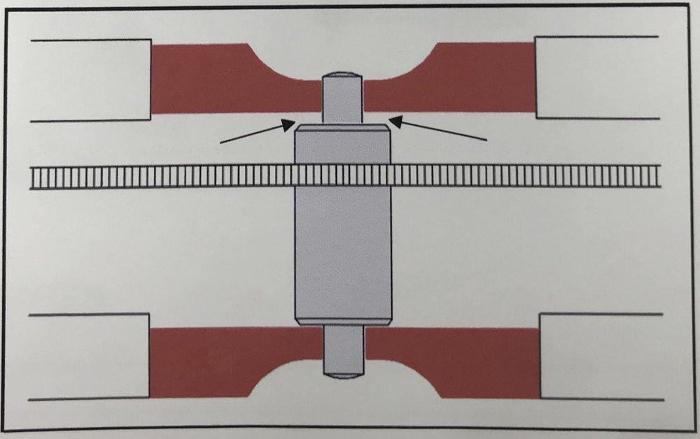 A lateral view of a gear train inside the gear train bridge
