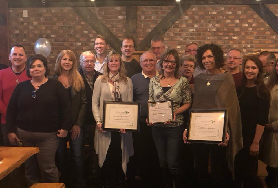 Folks holding awards are Terri Much (NYSDEC), Jackie James Creedon and Shannon Spencer (GI resident). Also in photo are : Our residents with City of Tonawanda Mayor Rick Davis, GI Supervisor Nate McMurray and CSCR's board President Phil Haberstro.