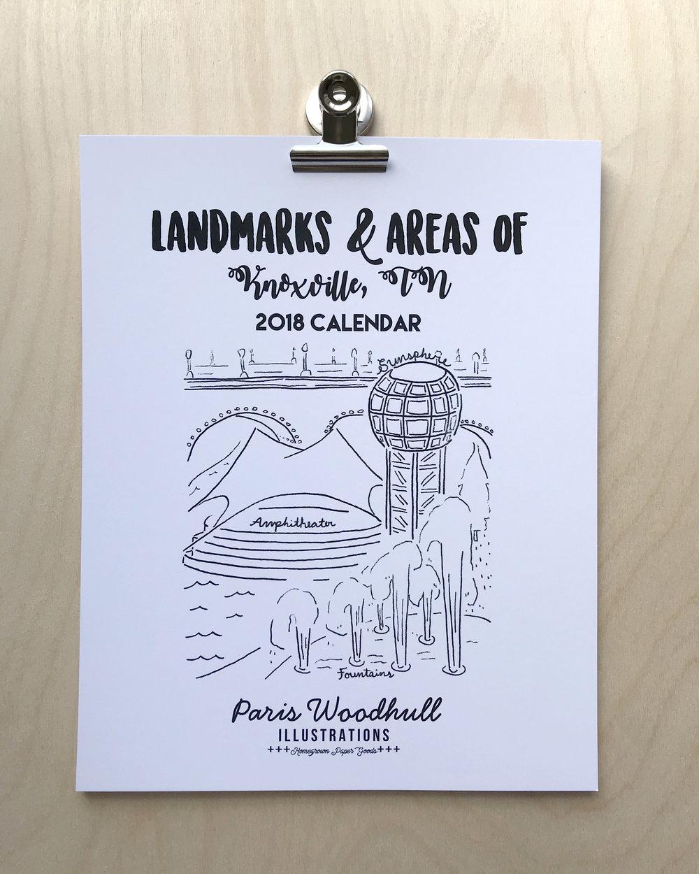 2018 calendar knoxville landmarks areas paris woodhull illustrations