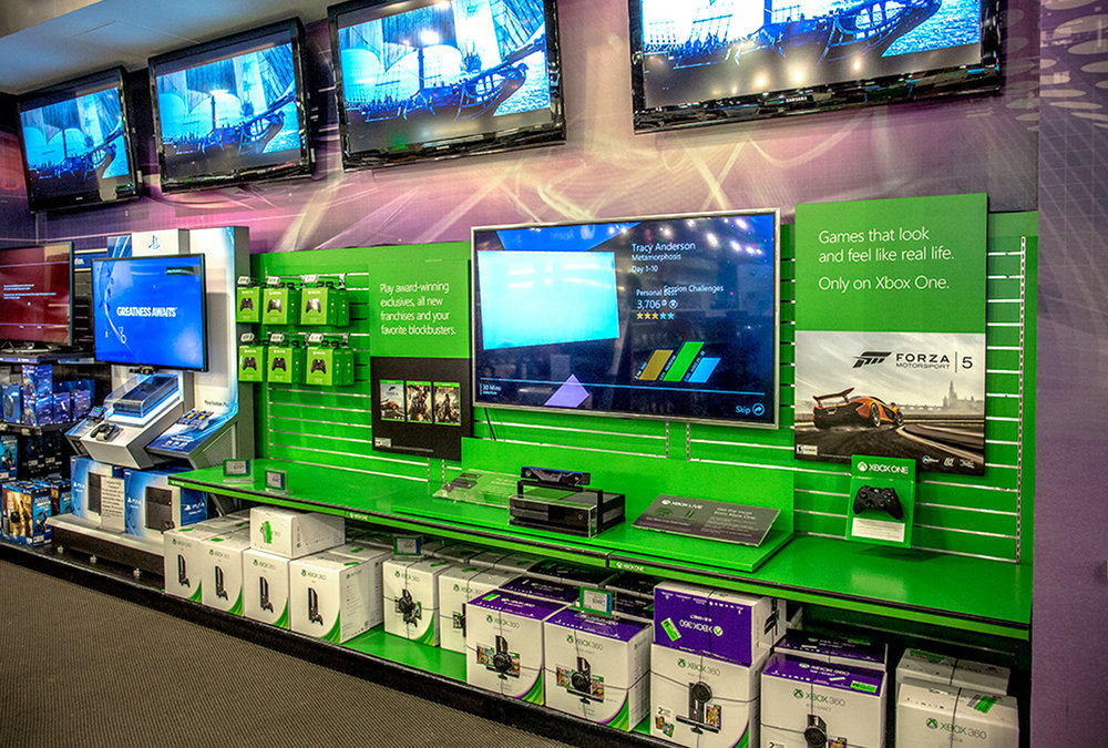 Xbox One Retail Display - The scope included planograms, graphic design, engineering, manufacturing and rapid deployment and installation in market.