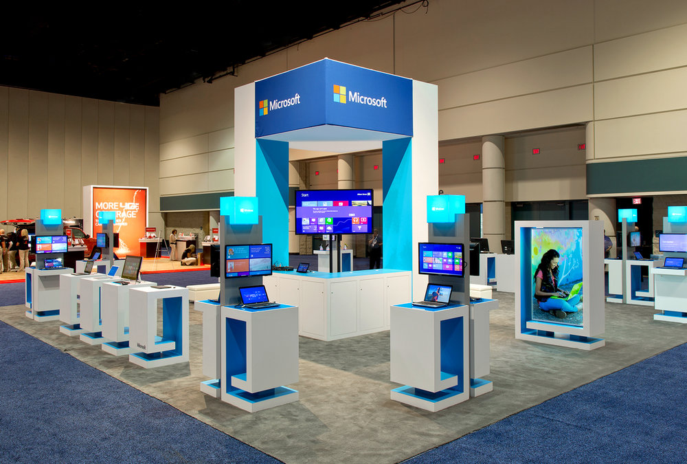 Windows Trade Show Booth - ImagiCorps created a compelling and modular exhibit with demo stations and presentation spaces to showcase the full breadth of Microsoft's products.