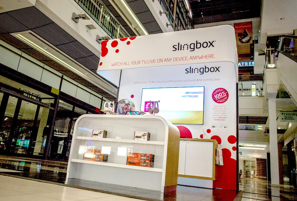 Pop-up retail store concept for Slingbox deployed into the San Francisco Westfield Mall on Market.