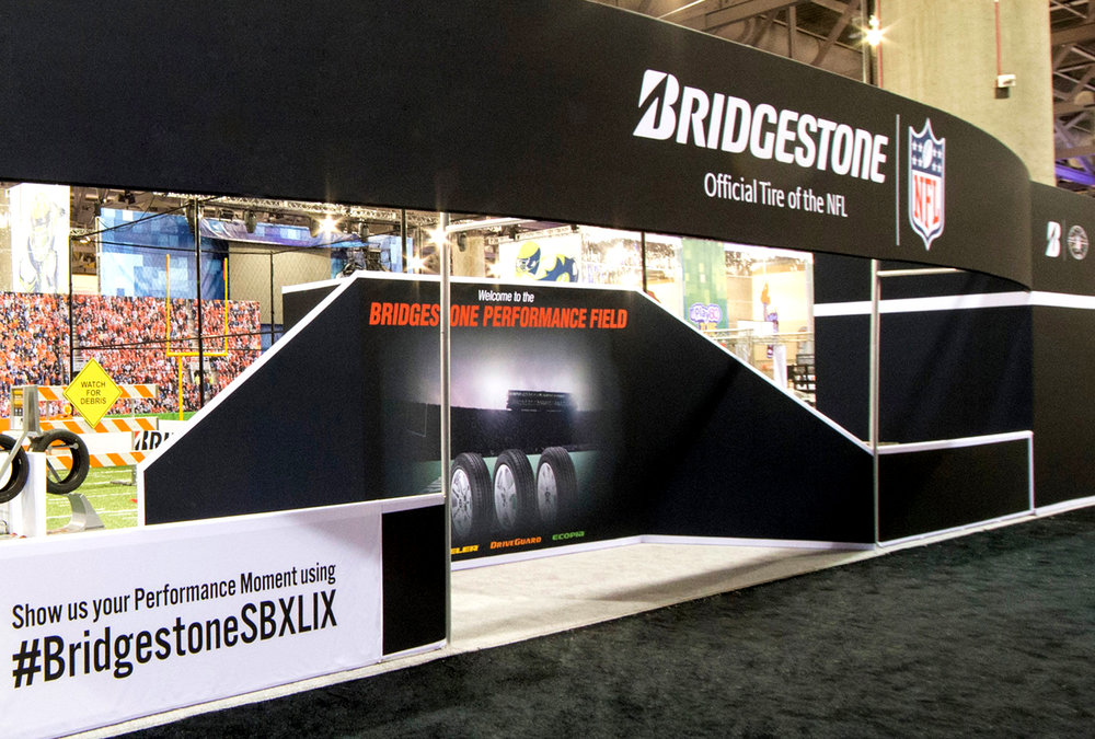 Design, engineering, fabrication and deployment of a 50' x 60' consumer engagement experience for Bridgestone at Super Bowl XLIX.