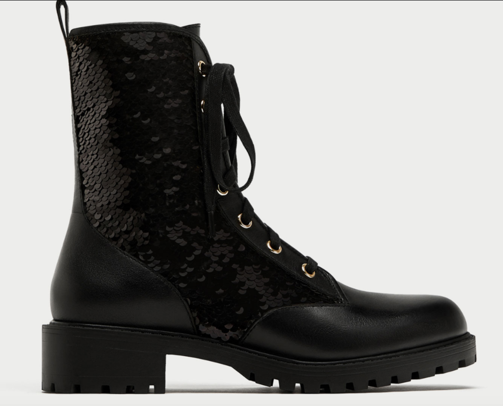 ZARA SEQUINNED LACE-UP ANKLE BOOTS