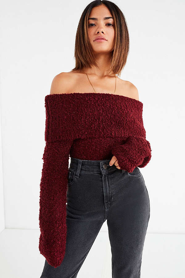UO Isadora Off-The-Shoulder Boucle Sweater
