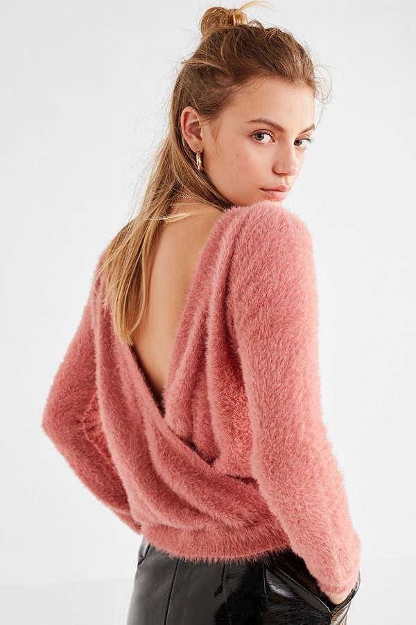 UO Jena Fuzzy Surplice Sweater