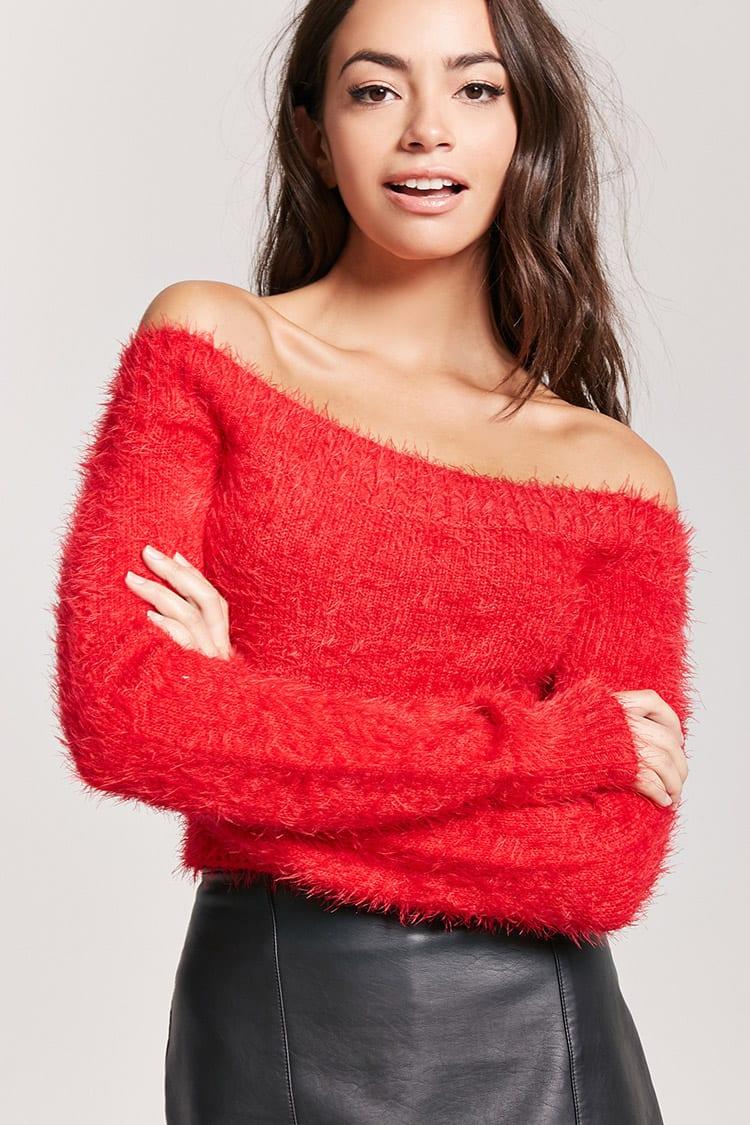 Fuzzy Eyelash-Knit Sweater