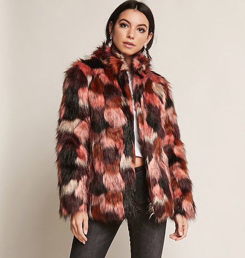 Multicolor Faux Fur Coat