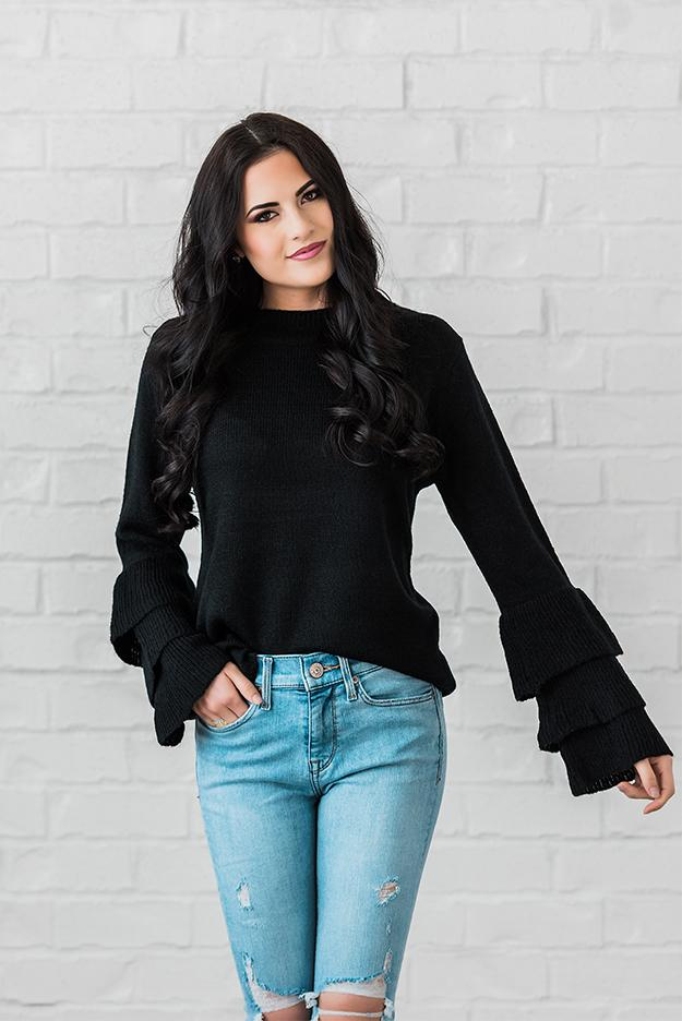 Black Tier Sleeve Top