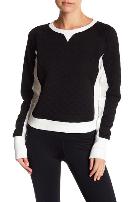 Zella Bella Quilted Crop Pullover