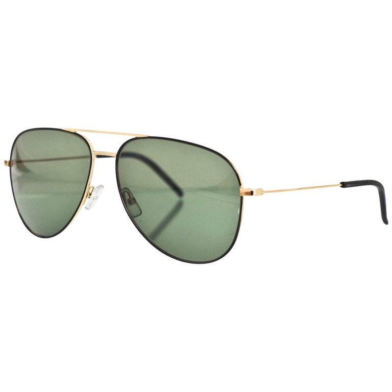 Saint Laurent Black & Gold Classic 11 Aviator Sunglasses with Case