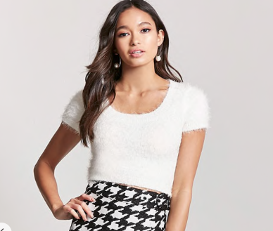 Fuzzy Knit Cropped Top