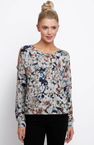Neely Long Sleeve Floral Printed HACCI Quinn Sweatshirt