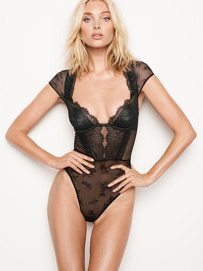 VERY SEXY Chantilly Lace Cap-sleeve Bodysuit