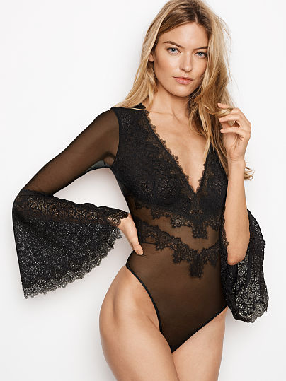 DREAM ANGELS NEW! Chantilly Lace Long Sleeve Teddy