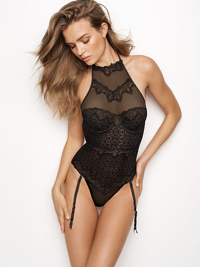 NEW! Chantilly Lace High-neck Teddy