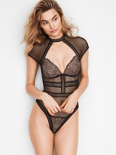 VERY SEXY NEW! Fishnet Lace Cap-sleeve Bodysuit