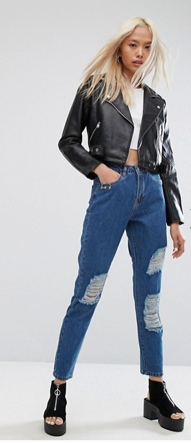 Noisy May High Waist Mom Jean With Piercing Pocket Detail