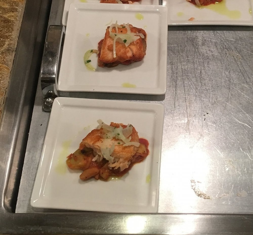Seared Salmon White Bean and Artichoke Ragout