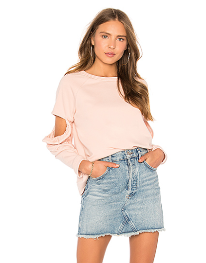 CLOVER CUT OUT RUFFLE SWEATSHIRT