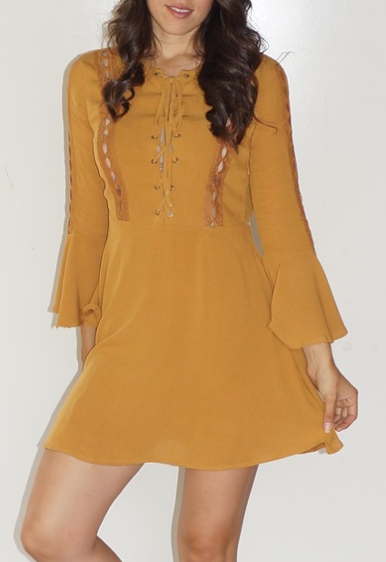 Mustard Lace Up Ft. Bell Sleeves