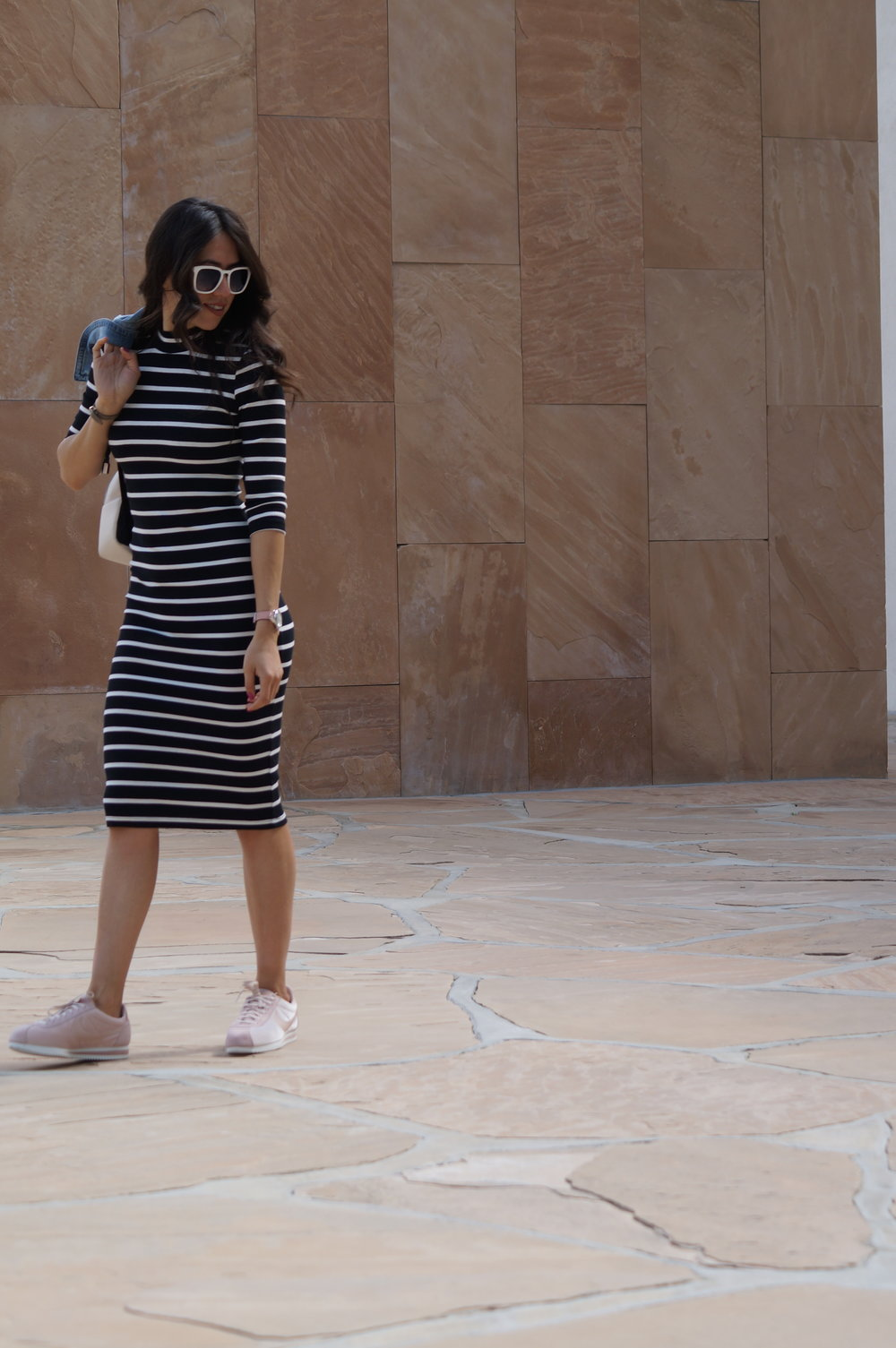 copper key  striped dress